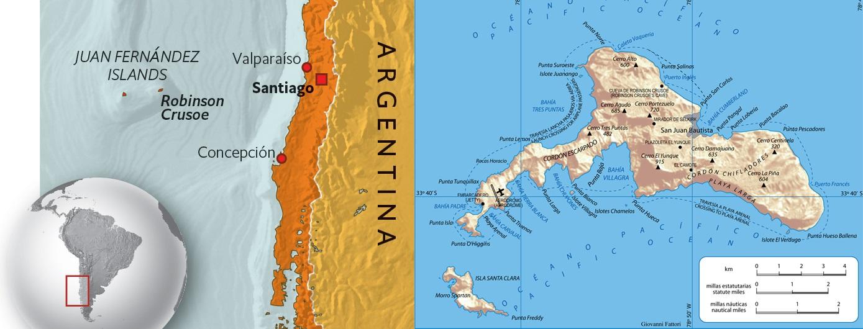 Chile map Juan Fernandez islands Robinson Crusoe location