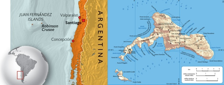 Chile map Juan Fernandez islands Robinson Crusoe location