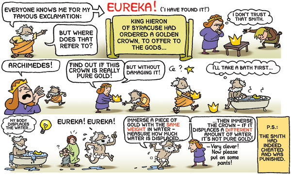 archimedes and eureka story cartoon