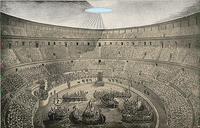 naumachia drawing colosseum