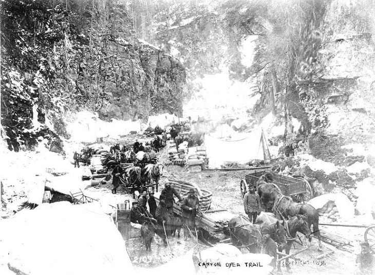 Klondikers_with_horse_drawn_wagons_and_sled_at_Canyon,_Chilkoot_Trail,_Alaska,_1898_(HEGG_187)