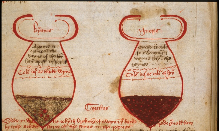 glasses-showing-urine-british library manuscript