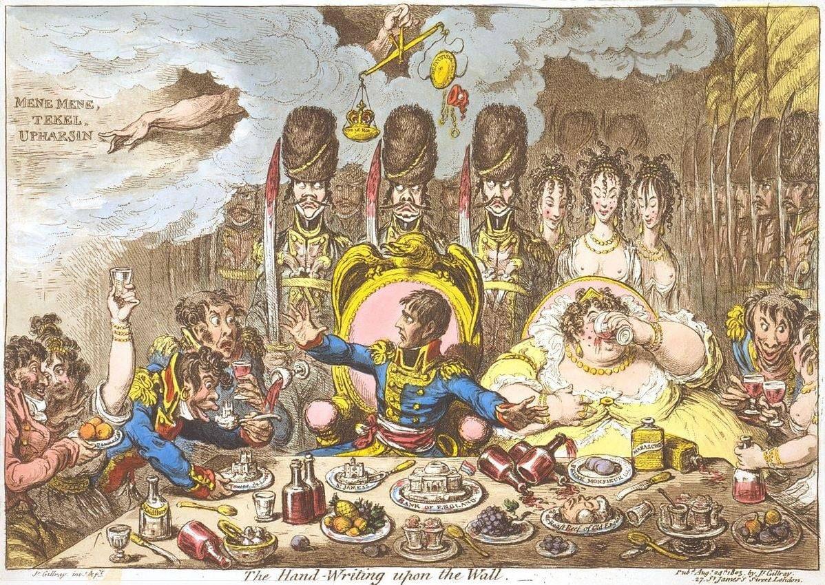 Napoléon à table - caricature britannique 1805